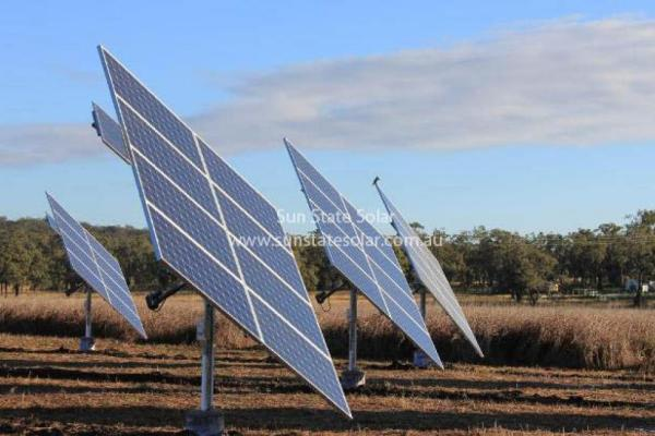 Solar Tracker Array - Side View